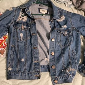 2/$35 Forever21 Ripped Jean Jacket